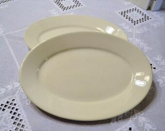 Vintage Homer Laughlin Oval Platter Set of 2 White Restaurant Quality Panchosporch