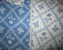 Gorgeous Pierre Deux Blue White Entrelacs Butterfly French Country Toile Fabric Reversible