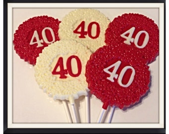 40th birthday chocolate or anniversary customized chocolate lollipop favors 30th 50th 60th 70th also available