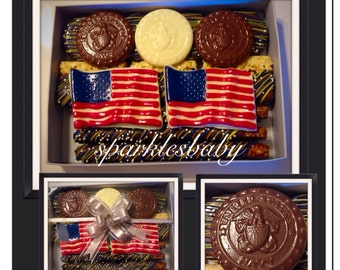 US Navy Gourmet Chocolate Oreo, Pretzel and Rice Krispie treat Gift box