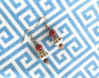 Red & Brown Tribal Earrings