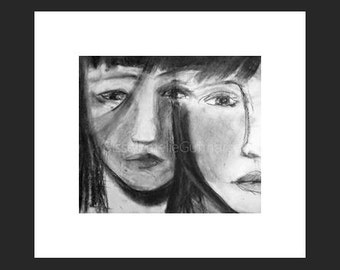 Girls  II - original charcoal art.