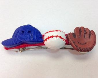Baseball Barrette|Sport's Button Barrette|Sport's French Barrette|Sport's Accessory|Button Barrette|