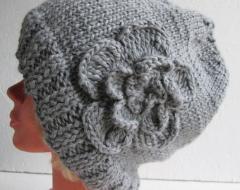 Knit Hat Womens Hat, gray merino slouchy hat, Beanie Hat, Hand Knit Hat Womens Hat  crocheted flowers, Chunky Knit Winter Accessories