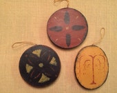 Moses Eaton-style Stenciled Folk Art Ornaments