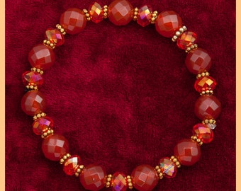 Red crystal bracelet, carnelian, orange, red-orange, fire crystals,Turkish, vermeil, daisies, gifts for her, elegant, fire red