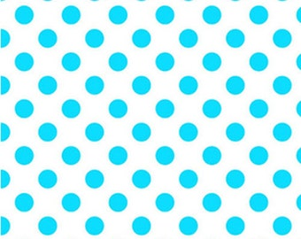 Half Yard NEONS - Medium Neon Dots in Neon Blue on White - Cotton Quilt Fabric - C490-100 - Riley Blake Designs (W2471)