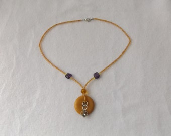 Sale - 50% OFF Italian Onyx with Peach Seed Bead Pendant Necklace With Silver Heart Charm, Peach and Lavender Necklace