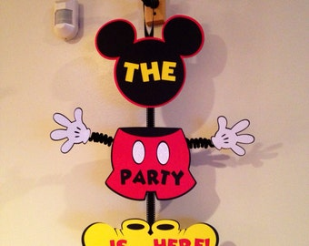 Mickey Mouse Door Sign Birthday Wiggle Arm Come inside, It's Fun Inside Or Custom Saying  Mickey Party Mickey Door Sign