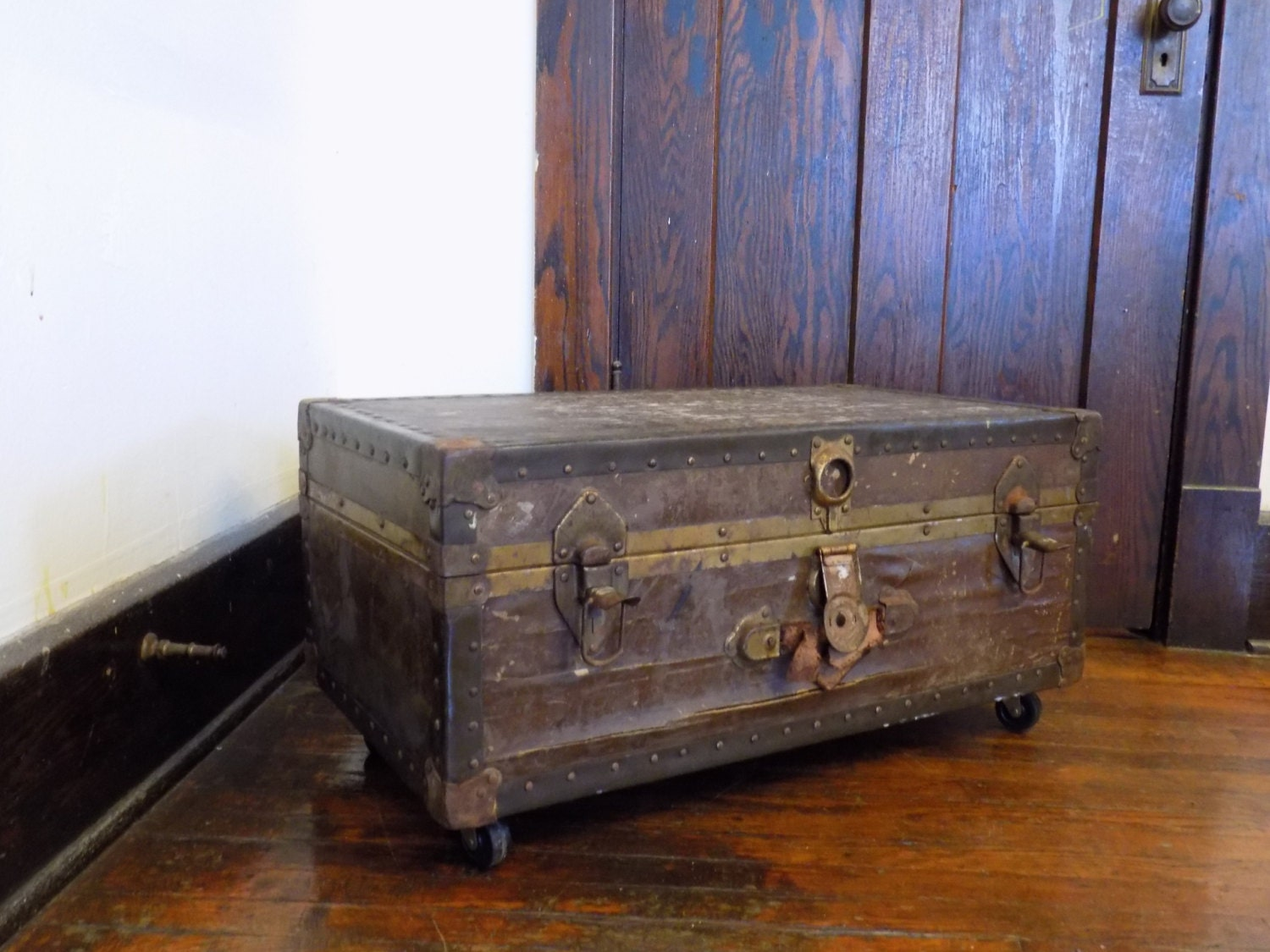 On Sale Antique Steampunk Steamer Trunk Coffee Table Repurposed Upcycled Table On Casters Wood