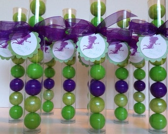 Fairy Princess Butterfly Gumball Party Favors, Pink & Lime Green, Set of 12, with Personalized Tags and Organza ribbon
