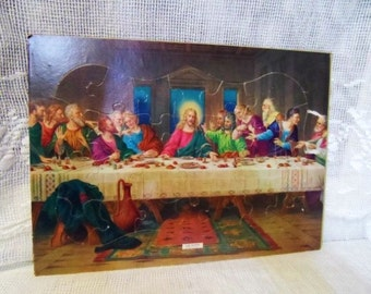 1960's Frame-Tray-Inlay PUZZLE Featuring The Last Supper- Leonardo Da Vinci- Themed Jigsaw Puzzle-Old Made in USA Tray Puzzle-28 Pieces