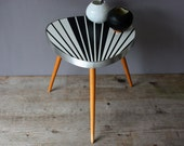 Plant stand, small coffee table, flower stool,  tripod, bedside / side table, nightstand, Mid Century, black white stripes, gift, 50s 60s