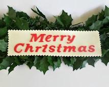 "Christmas Edible Cake Fondant Topper Sign, Party Decor Holiday "" Merry Christmas "" Plaque, Gumpaste Cake Topper"