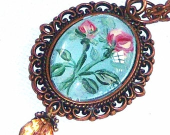 Romantic Rose Pendant Necklace Hand Painted Flower Jewelry
