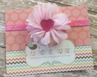 Pink blossom valentine themed headband