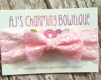 Light pink lace bow headband