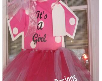 Baby Girl Hospital Door Hanger* Baby Girl Burlap Tutu Door Hanger*Baby Girl Wood Hospital Door Hanger
