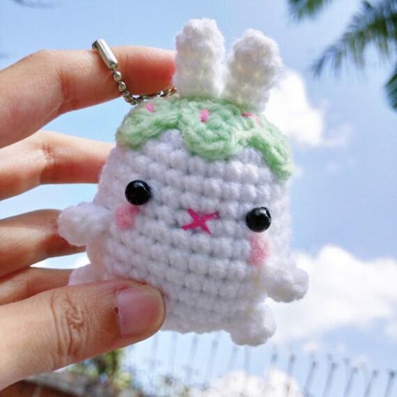 Amigurumi Cupcake Keychain : Amigurumi Crochet Bunny Cupcake Charm Keychain