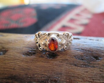 Ornate Orange Garnet and Sterling Ring Size 3