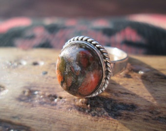 Olive and Gold Unakite and Sterling Ring Size 7.25