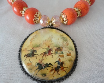 Splendid Round Corals Crystal Persian Pendant Necklace*****.