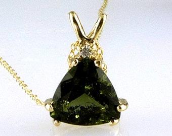 Natural, Genuine Trillion Moldavite & Diamond Pendant 14K Solid Gold 2.35 CTS