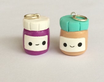 Polymer clay peanut butter and jelly jars, miniature food jewlery, friendship charms, polymer clay charms,  polymer clay food charm