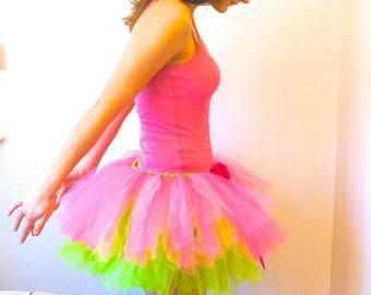 Pink & Green Tutu - Adult Tutu - Rave Tutu - Bachelorette Tutu