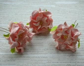 Pale Pink Gardenia Flower Hair Pins - Set of 3