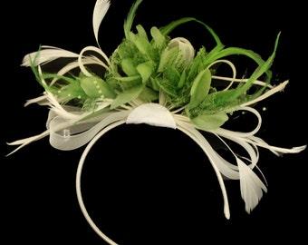 Cream Hoop & Lime Green Feathers Fascinator On Headband