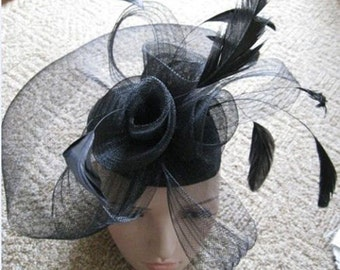 Black Net Fascinator Hat Veil on Clips - Wedding Ascot Races Hair Accessories
