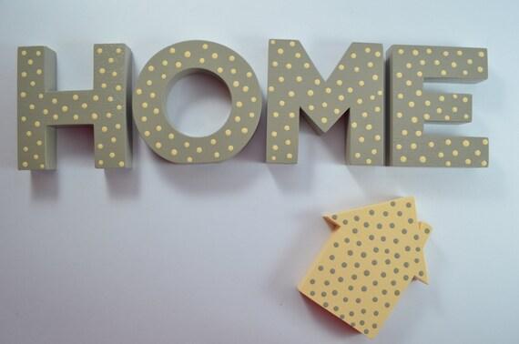 Scritta home con casetta in legno di zuccheroecaffe su etsy for Scritta home in legno
