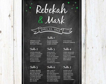 Sparkle Wedding Seating Chart Poster   Green Wedding Seating Chart Board    Personalized Reception Template