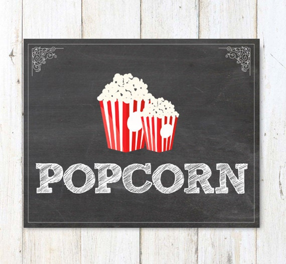Dramatic image in popcorn sign printable