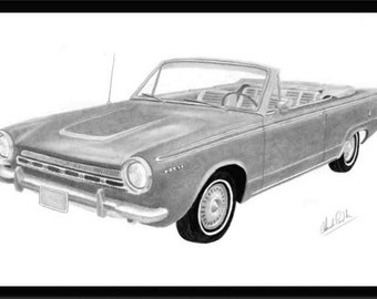Pencil drawing art of a 1964 Dodge Dart  convertible