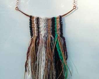 Woven necklace, miniature tapestry weaving. textile art necklace woven cotton and wool with fringe and beads, one of a kind