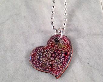 Multi-Color Red Enamel Heart Necklace