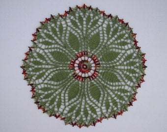 Fern Leaf Hand Crocheted Doily