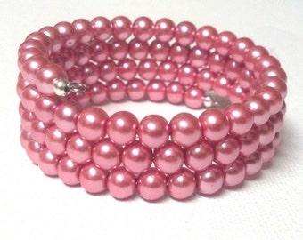 Rose Pink Pearl Wire Wrap Glass Pearl Bracelet   Memory Wire Bracelet   PinkTones   Fuchsia Razzmatazz Rouge