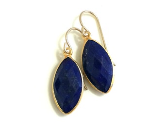 Lapis Earrings, Lapis Gold Marquise Earrings, Gold Filled Wires, Modern Lapis in Gold Frames