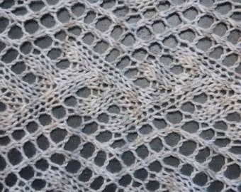 Gray hand knit lace scarf