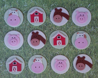 12 Farm Fondant cupcake / cookie toppers