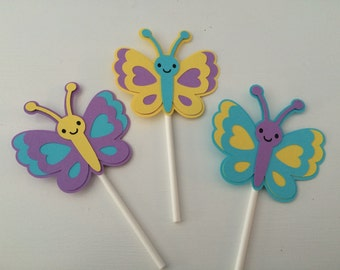 12 Butterfly Cupcake Toppers