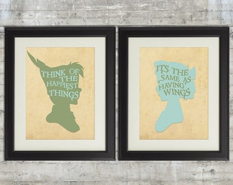 Peter Pan Nursery, Peter and Wendy, Think of The Happiest Things, set of 2 8x10 Nursery Art Prints, Neverland Series