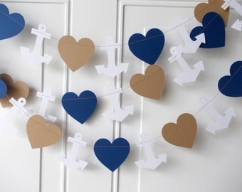 Anchor & Heart Garland, Nautical Garland, Paper Garland, Navy Kraft White, Birthday Party, Shower Decoration, Party Decoration, 10'