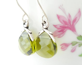 Small Olive Green Briolette Earrings, Olivine Green Swarovski Crystal Flat Briolette Earrings, Green Crystal Earrings, Dangle Earrings