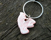 White and Pink Dove Necklace made with Faux Ceramics Technique