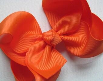 Large 4 inch Orange Hair Bow