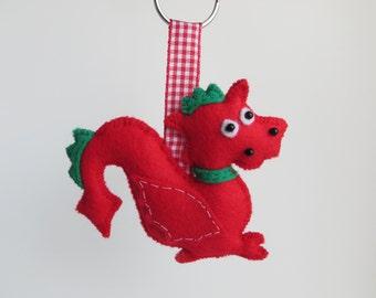 Hand sewn red welsh dragon keyring
